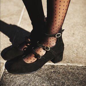 Free People Mercury Block Heel in Black Velvet